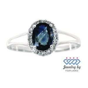 Halo Diamond Blue Sapphire Oval Ring White Gold